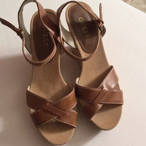 Guess Leather Cork Wedge Shoes